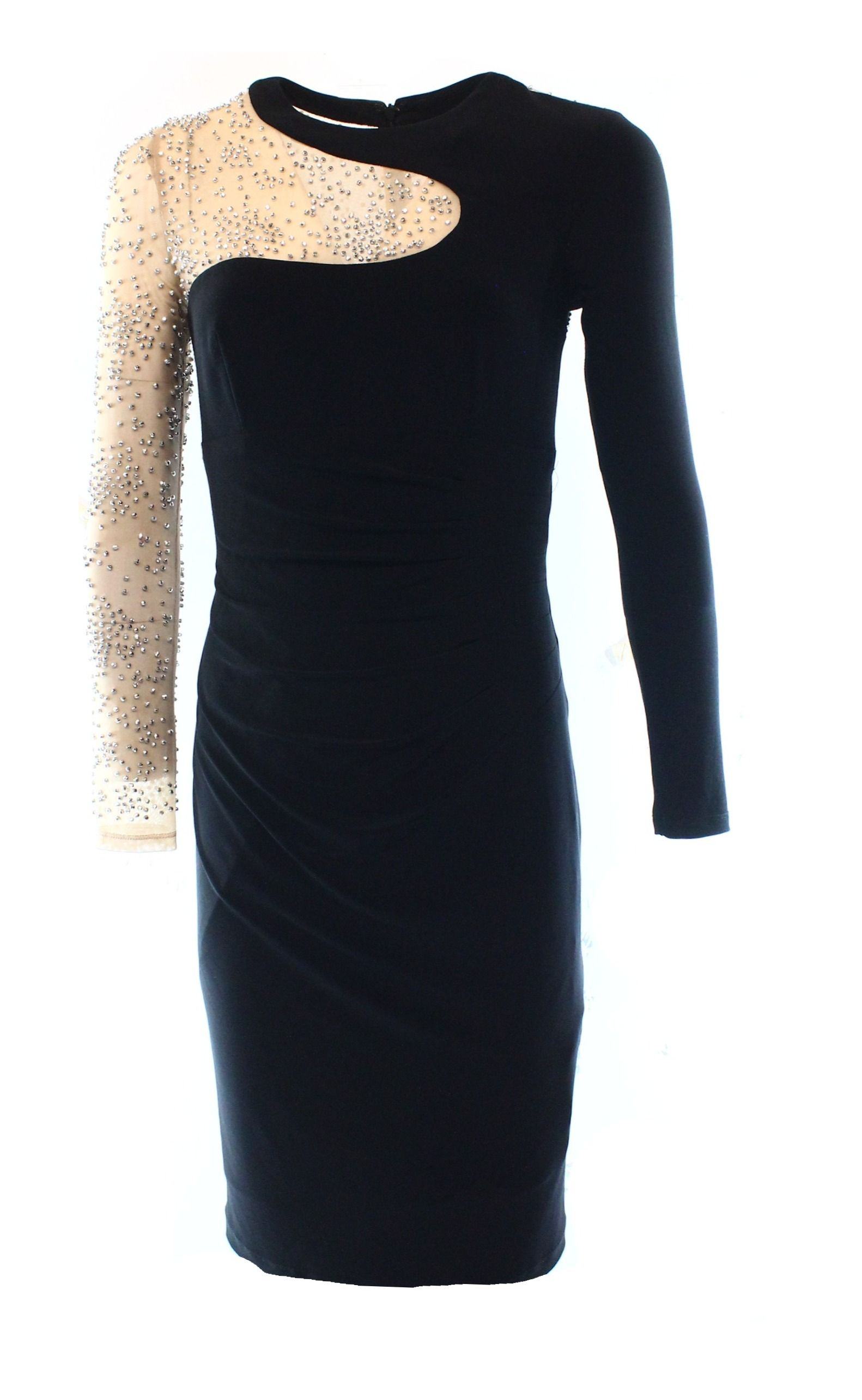 Xscape new black nude womenus embellished mesh illusion sheath