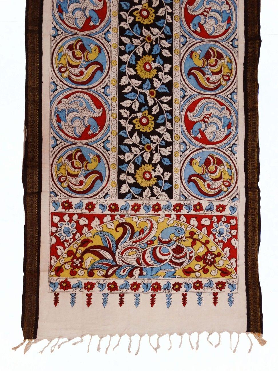 Mangalgiri cotton dupattas with kalamkari hand painting
