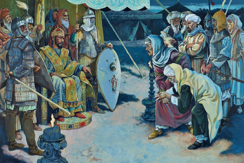 Emperor Romanos IV humiliates A Saljuq peace delegation, late evening, Thursday 25 august 1071