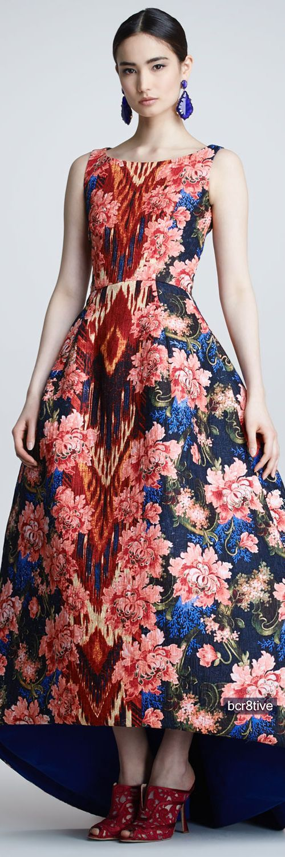 Oscar de la Renta Floral Ikat Jacquard Gown, Navy/Red - Neiman\'s v ...