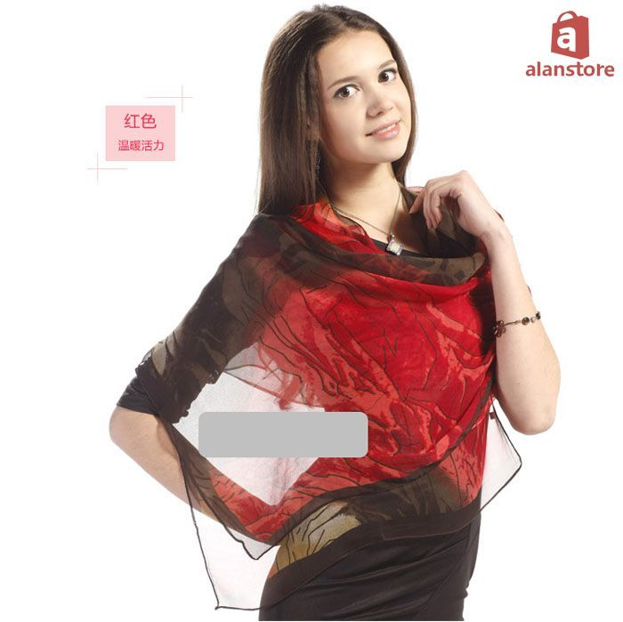 Women, Spring, Summer, Autumn Scarf, Shawl, Wrap, Georgette Material, Fashion Real Natural Silk Made