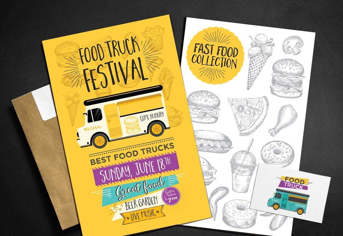 Food Truck Menu Template With Ilrations For Party Invitations Dinners Layout Adobe Ilrator Inside Archive You Will Find Eps