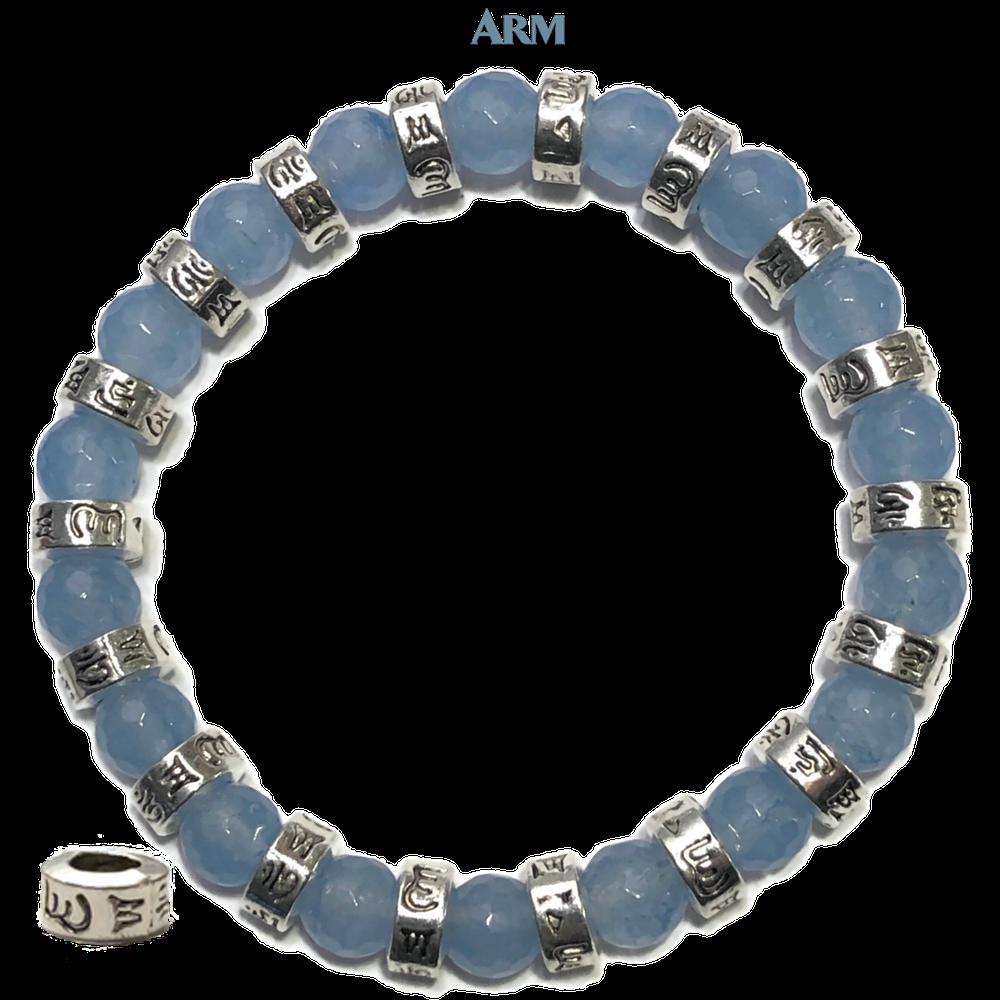 8mm white Jade bracelet yoga Buddhism Reiki Meditation Stretchy Tibet silver