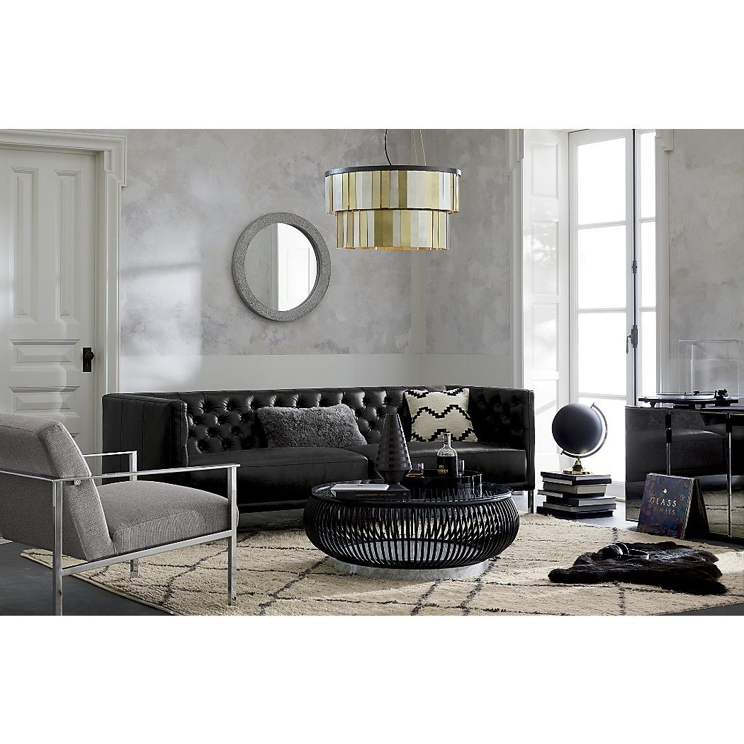 Savile Black Leather Tufted Sofa + Reviews | CreativStyLab ...