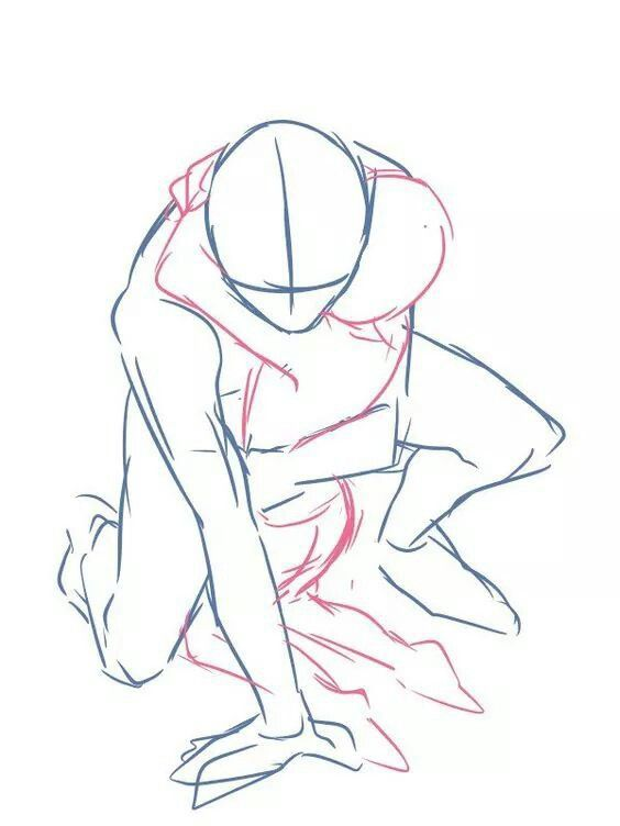 crouching hug two people pose reference drawing tutorials