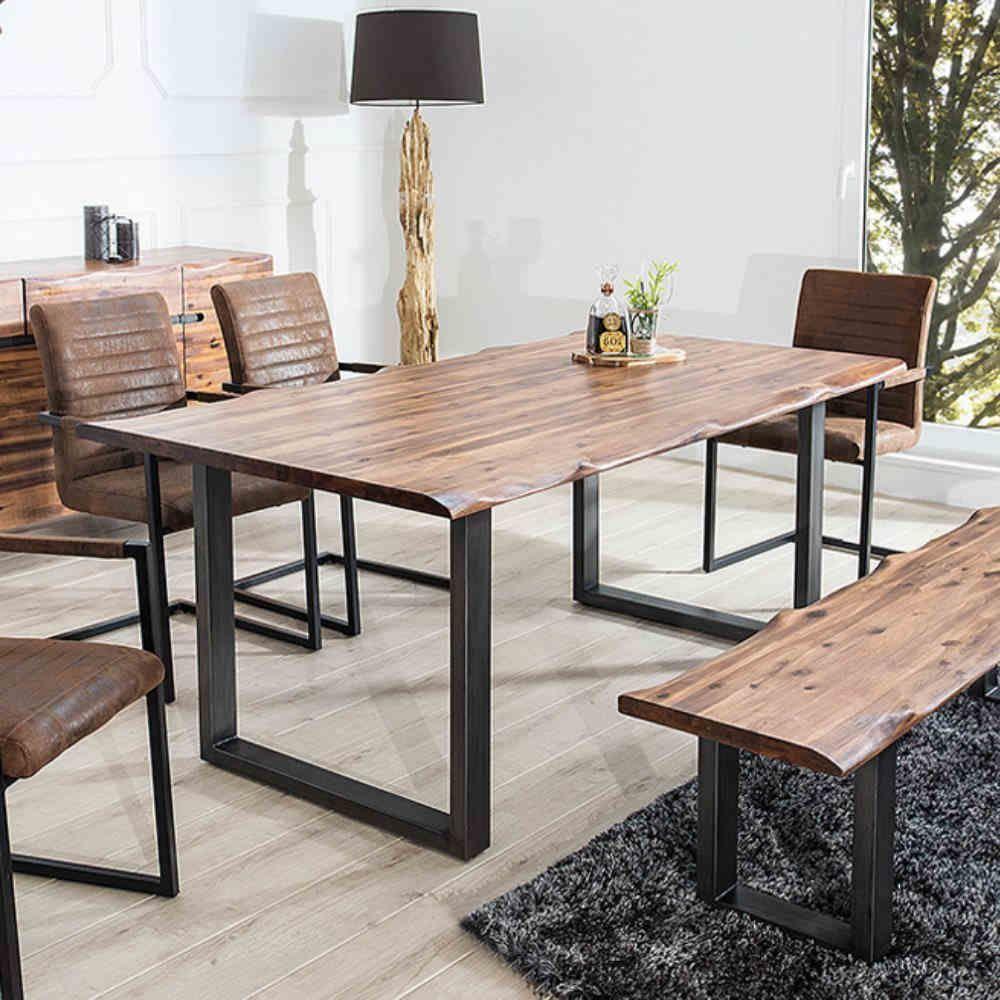 Massiver Baumstamm Tisch Genesis 180cm Akazie Massivholz Baumkante Esstisch Mit Kufengestell Industrial Finish Baumstamm Tisch Holztisch Esstisch Couchtisch