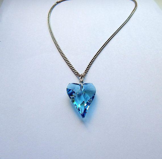 Blue heart necklace swarovski swarovski pendant vialatteaart blue heart necklace swarovski swarovski pendant vialatteaart mozeypictures Gallery