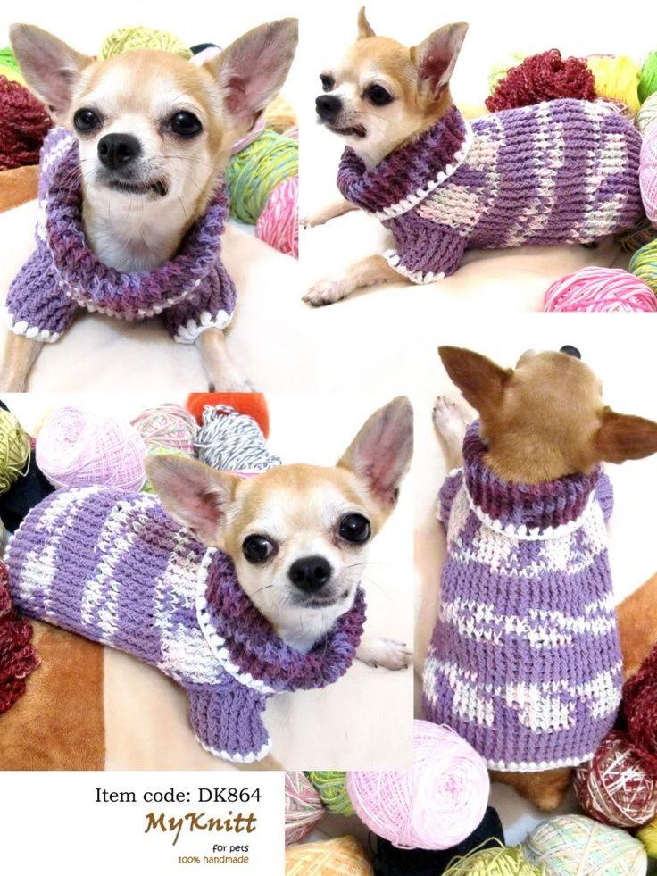 Myknitt Handmade Knit Pet Sweater Dog Clothing Cotton Purple Cat
