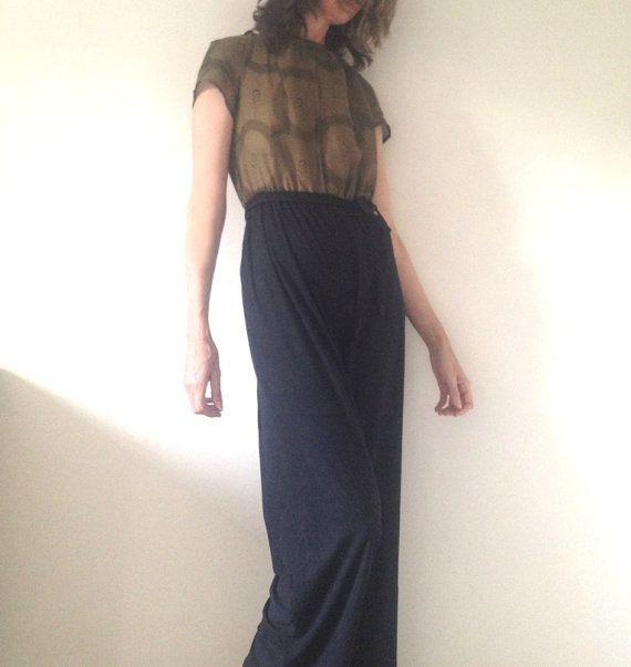 Handmade Jumpsuit Belt Gathered waist Short Sleeves by AntAtHome