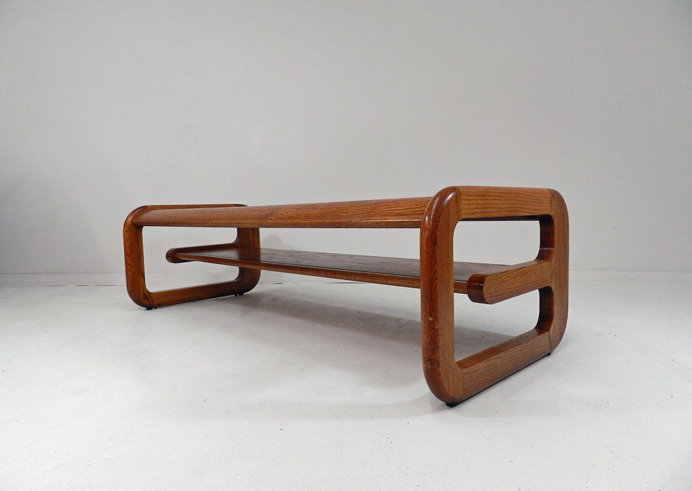Mid Century Modern vtg glass wood coffee table danish style Lou Hodges  attribute