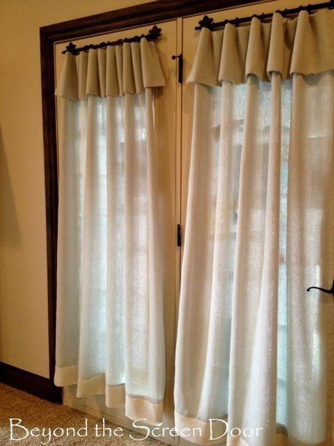 aqua and cream french door window treatments beyond the screen door vorh nge gardinen. Black Bedroom Furniture Sets. Home Design Ideas