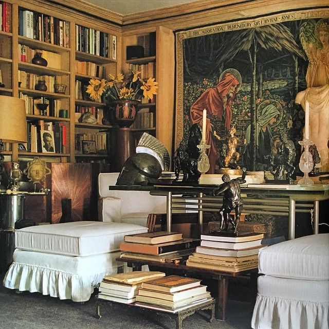 """INSPIRATIONAL INTERIORS: a final shot of Saint Laurent and Bergé's Rue de Babylon library. The white slip-covered upholstery is homage to Marie-Laure de…"""