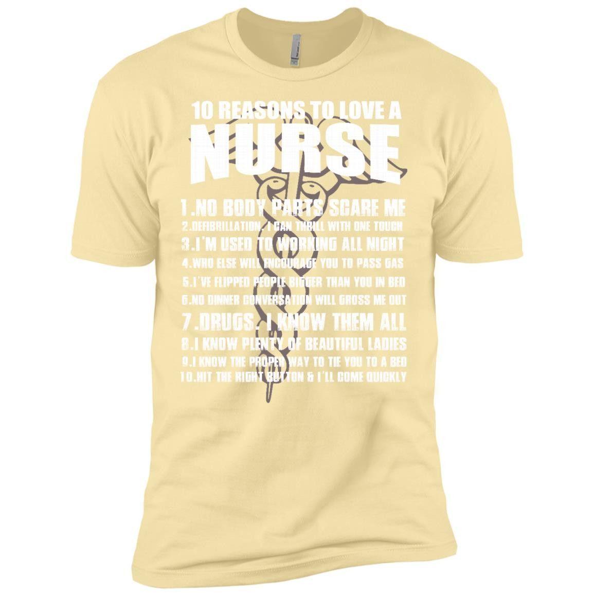 1O REASONS TO LOVE A NURSE NL3600 Next Level Premium Short Sleeve T-Shirt
