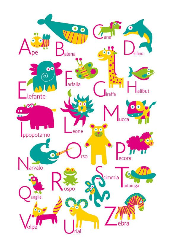 Italian Alphabet Poster With Animals From A To Z Big Poster In