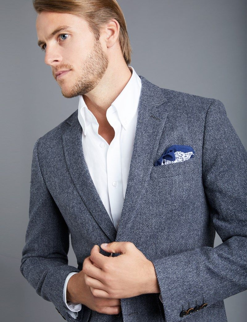 d1382f126c8 Men s Grey Herringbone Tweed Blazer - 100% Wool