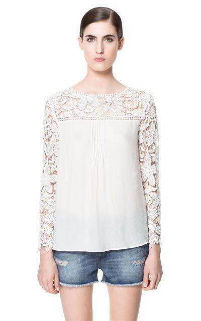 blusa chiffon com renda Zara