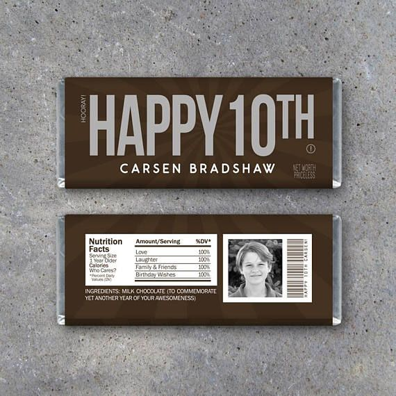 HAPPY 10TH Personalized Candy Bar Wrappers – Printable Birthday Hershey's Wrappers with PHOTO, name & text – Party favors, gift or gift tag #employeeappreciationideas