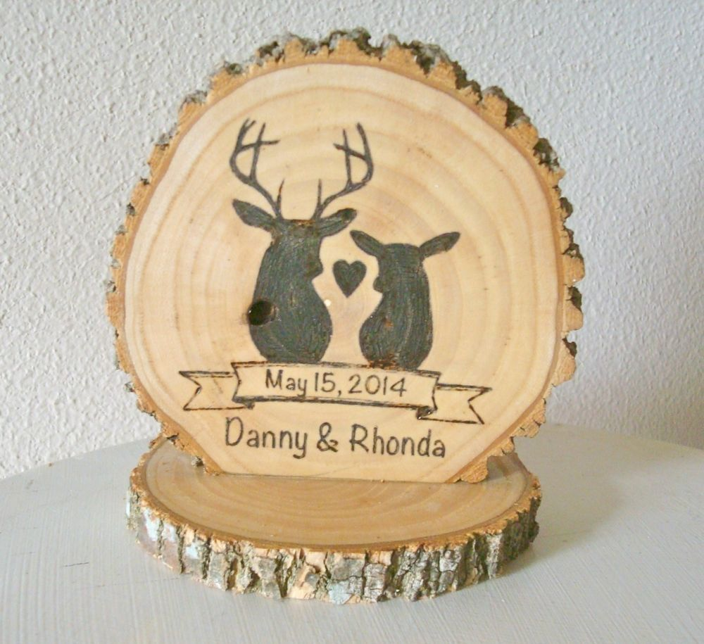Rustic Wedding Wood Cake Topper Personalized Romantic Deer Couple ...