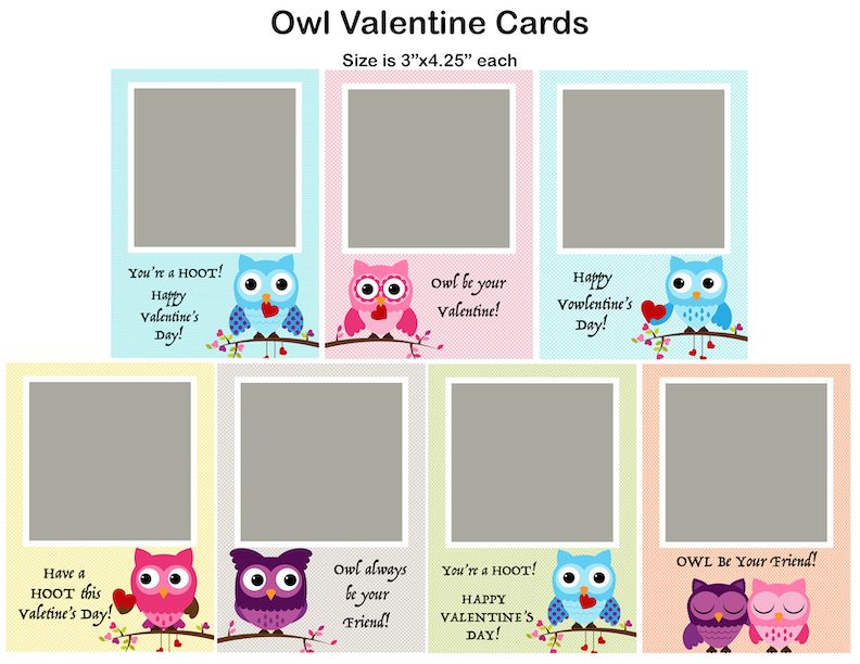 Owls Valentine S Day Card Photoshop Template In 2021 Owl Valentines Valentines Day Card Templates Photoshop Template