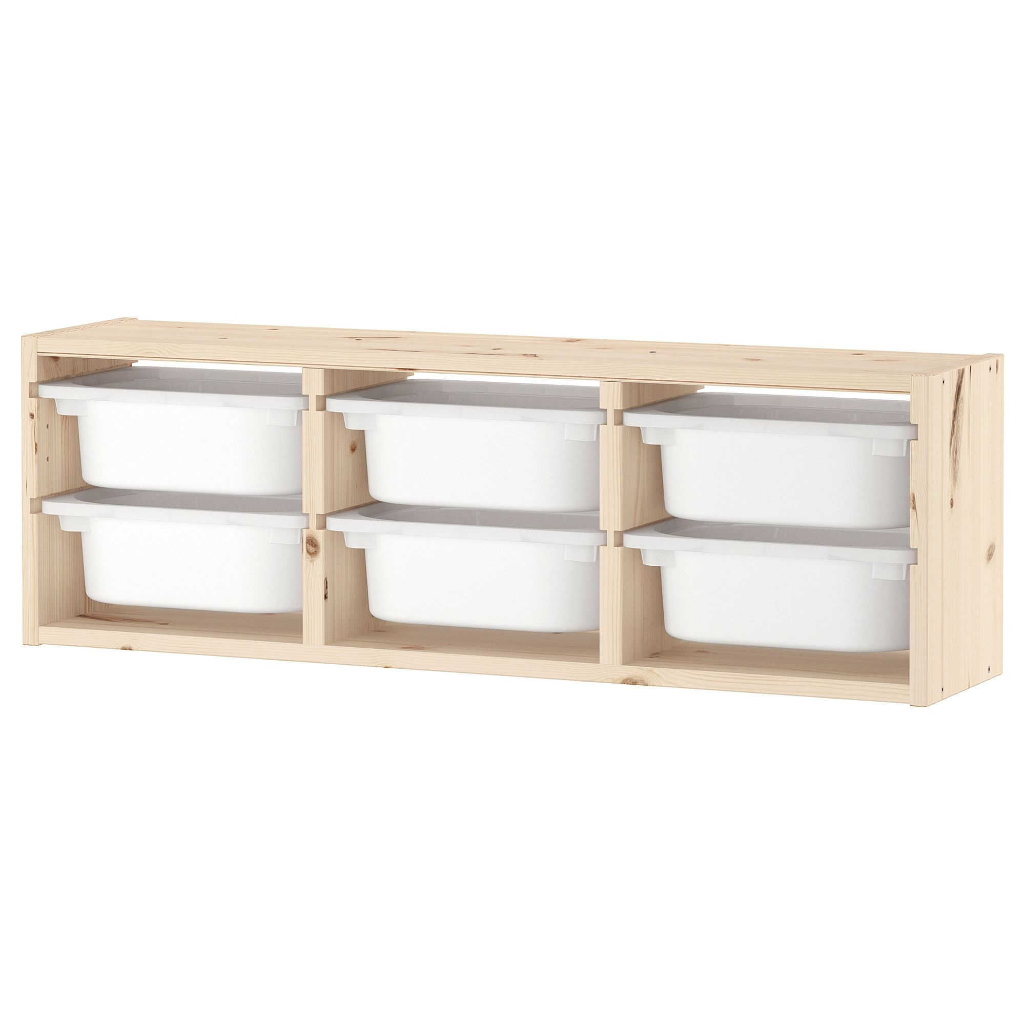 Ikea Trofast Pine Light White Stained Pine White Wall Storage In