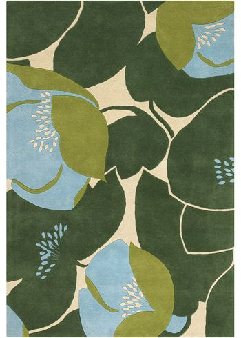 Field Poppy Blue | Amy Butler Hand Tufted Wool Rug