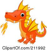 Royalty Free RF Clipart Illustration Of A Cute Orange Baby Dragon Breathing Fire