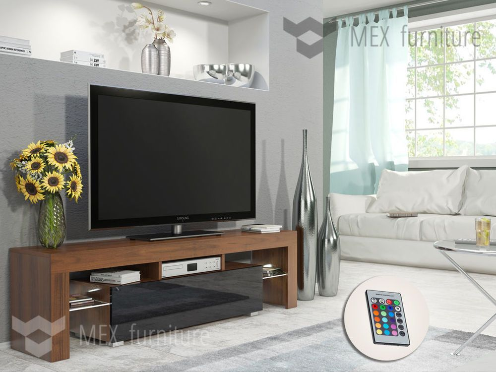 Modern TV Unit 160cm Cabinet Stand Walnut Matt and Black High Gloss FREE LED RGB in Home, Furniture & DIY, Furniture, TV & Entertainment Stands | eBay
