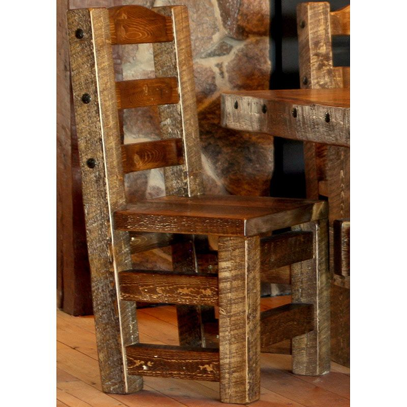Weathered Wood Rustic Timber Dining Chair Nc Rustic