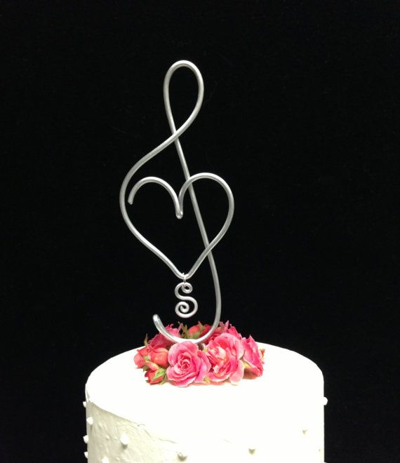 Treble Clef Music Note And Musical Heart Wedding Cake Topper