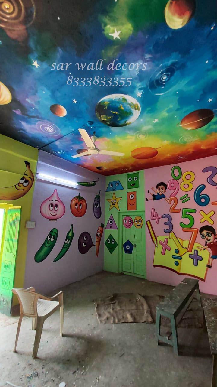 School ceiling cartoon art painting in 2020 School