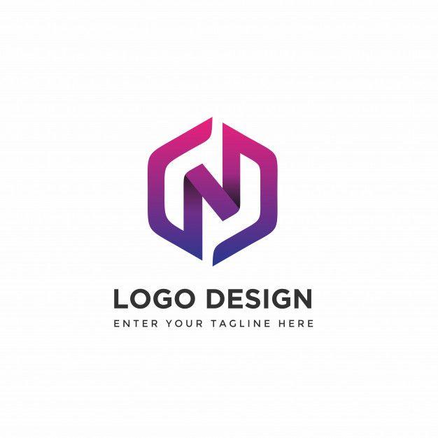 Modern n with hexagon logo design templates Premium Vector -  #Design #downloads...