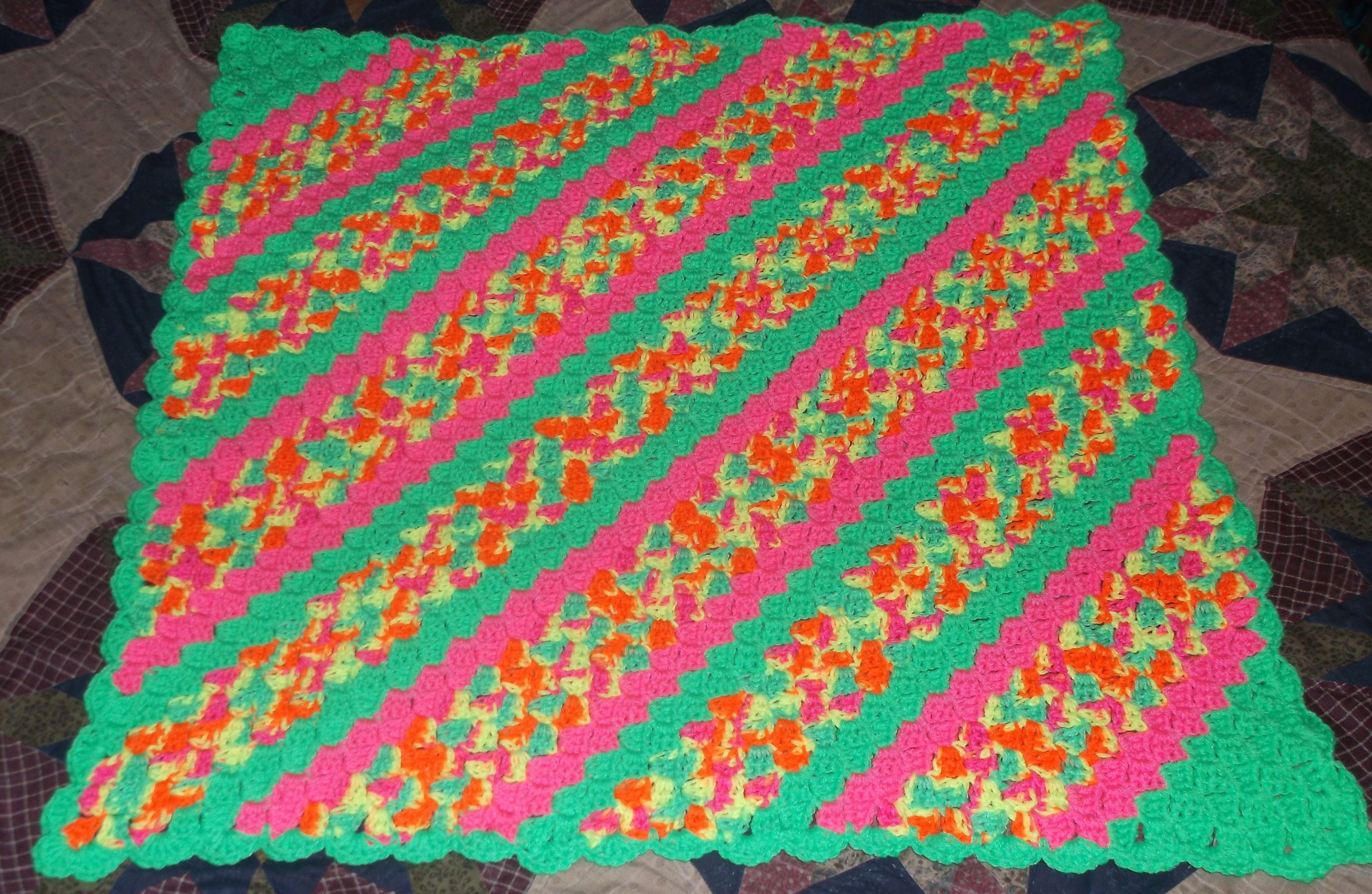 Corner 2 Corner Neon Colors Crochet Afghan http://www.redheart.com ...