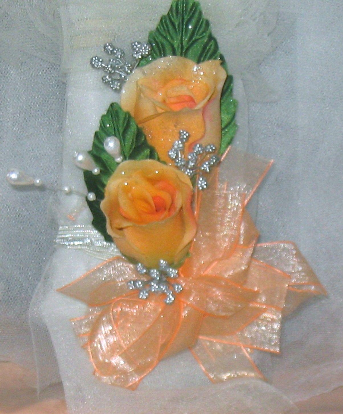 Silk Flower Peachy Silver Prom Or Wedding Silk Flower Wrist
