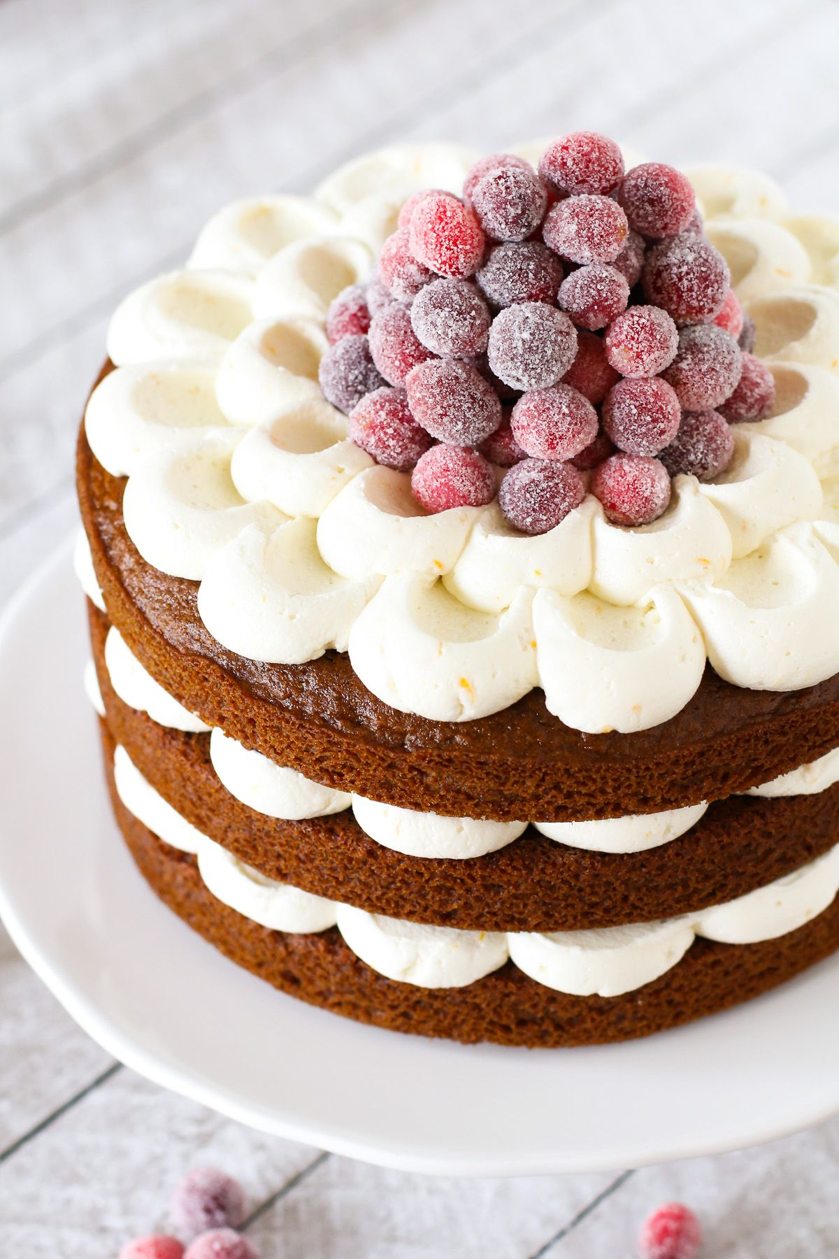 Gluten Free Vegan Gingerbread Layer Cake With Sugared Cranberries