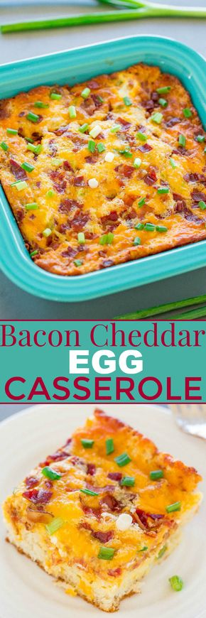 Bacon Cheddar Egg Casserole - Crisp bacon, melted cheese, and green onions add so much FLAVOR!! Hearty but stays perfectly light thanks to a secret ingredient! EASY and perfect for breakfast, lazy brunches, or breakfast-for-dinner!!