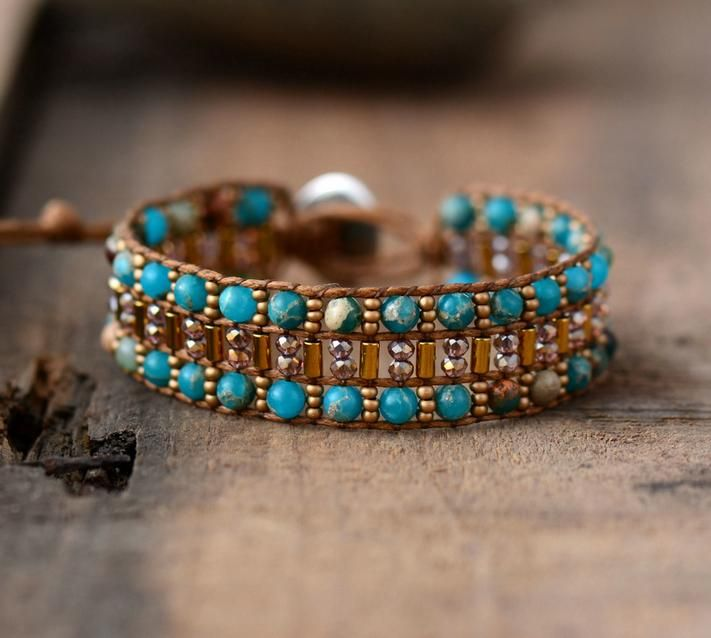 Handmade Natural Blue Jasper Stone Leather Wrap Bracelet Gemstone Boho
