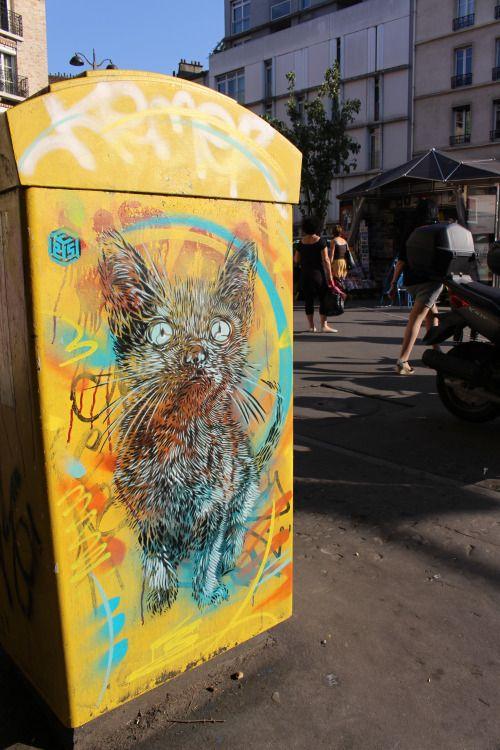 Stencil painting by C215 in Paris 13th district Pochoir de C215