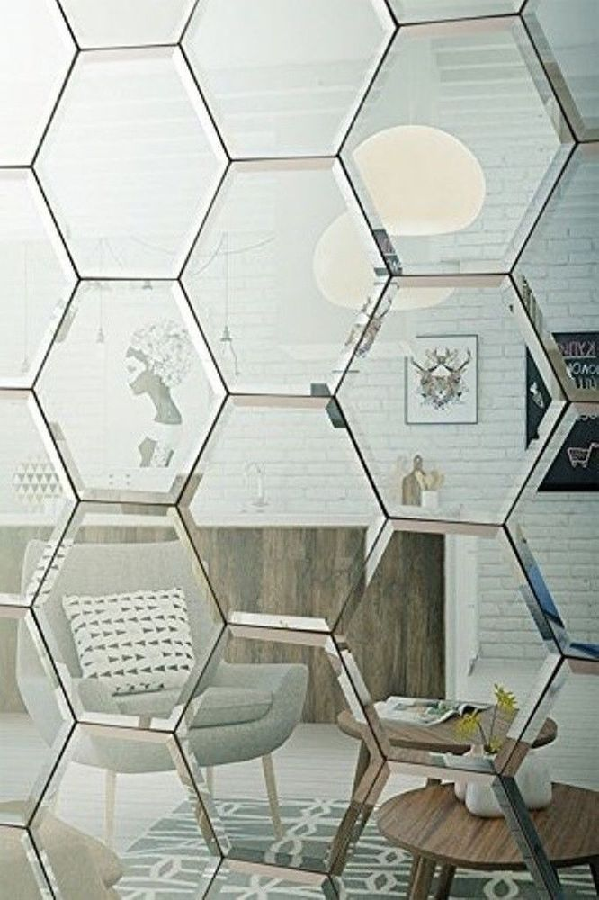 Shelf Adhesive Mirror Tiles Mirrored Glass Wall Silver Kitchen Bathroom Bed  Room | Mirror tiles, Mirror decor, Glass wall
