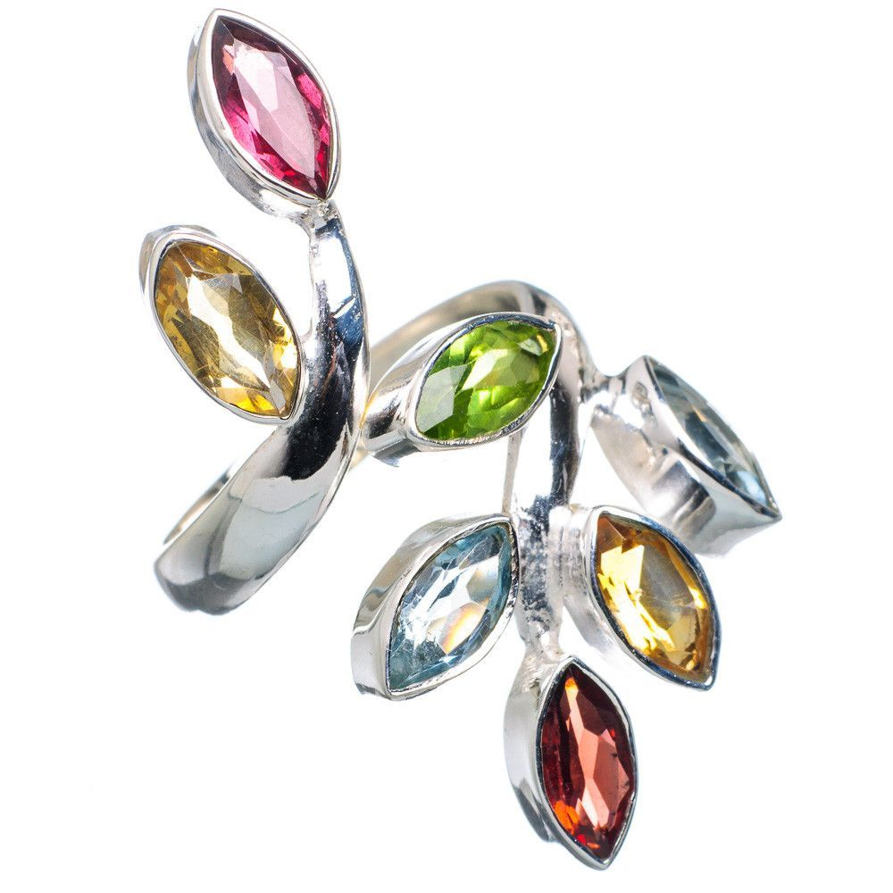 Garnet, Citrine, Peridot, Blue Topaz 925 Sterling Silver Ring Size 7 Adjustable RING696133