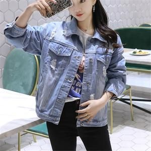 9417183da3 Women Basic Coats Spring Autumn Boyfriend Holes Denim Jacket 2019 Vintage Long  Sleeve Loose Female Jeans Coat Casual Outwear