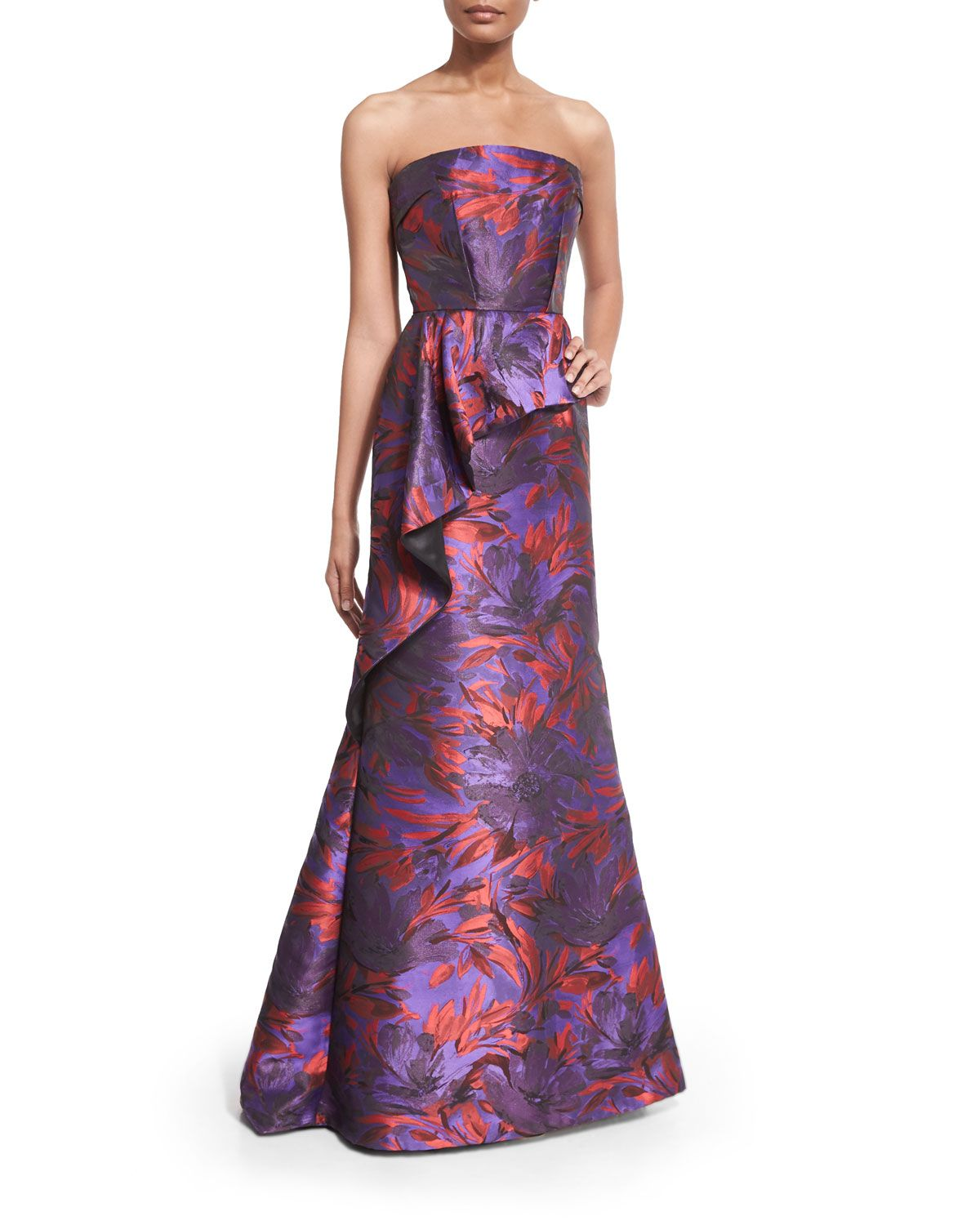 Strapless Floral-Print Peplum Gown, Women\'s, Size: 16, Purple ...