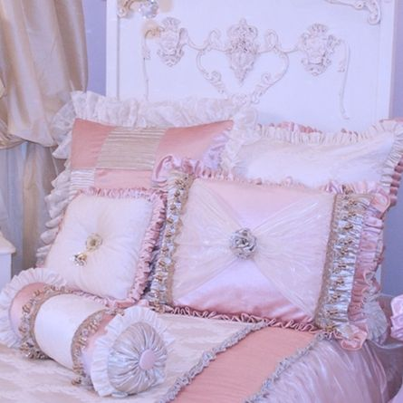 close-up of princess bed. I love the headboard details and the pillows.