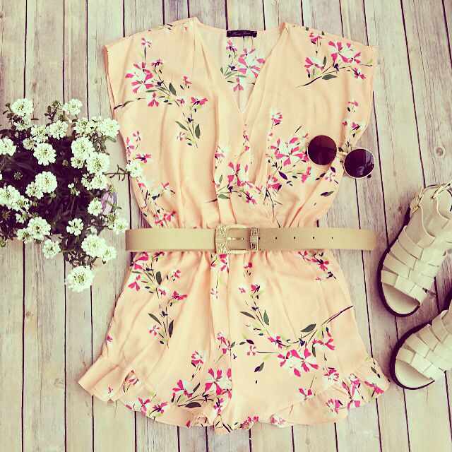 Perfect summer playsuit! #love #romper #summer #shoes #flowers
