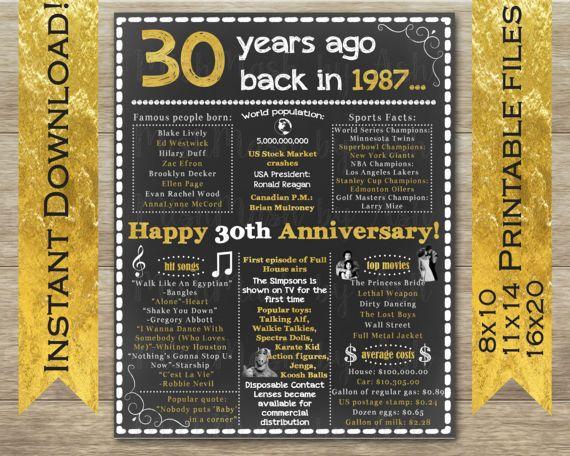 31st Wedding Anniversary Gifts: 30th Anniversary 30th Anniversary Sign 30th Anniversary