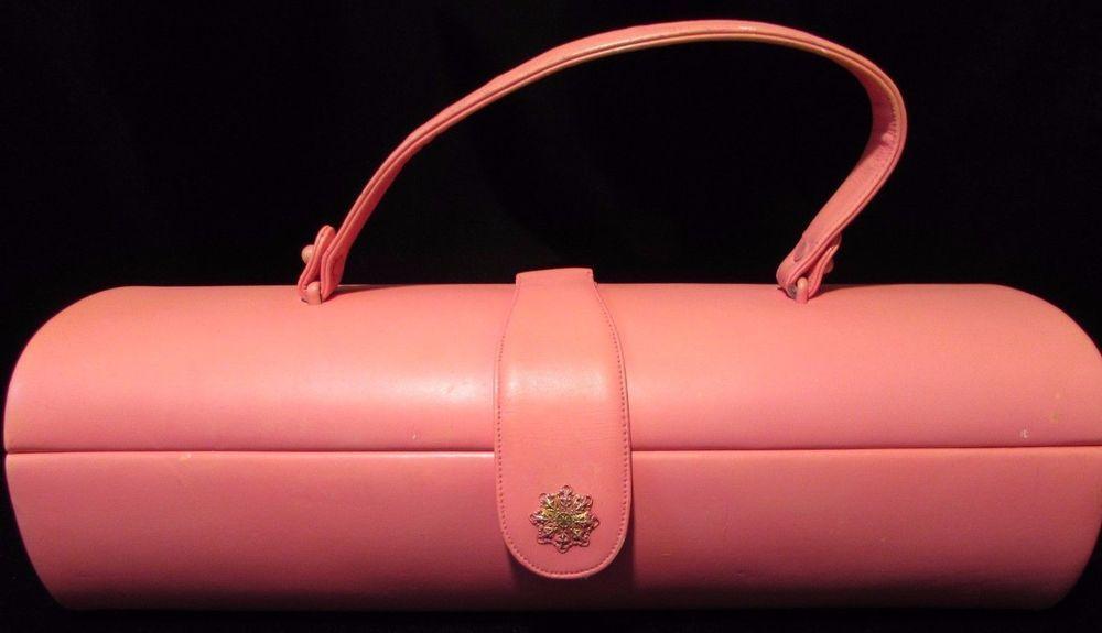 Vintage Pink Prestige Barrel Handbag Purse 1950's Black Satin Lining Retro Style #Prestige #Baguette