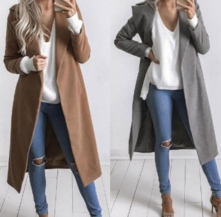 New Womens Fashion Lapel Wool Blend Warm Slim Long Jackets Coat Outwear Overcoat