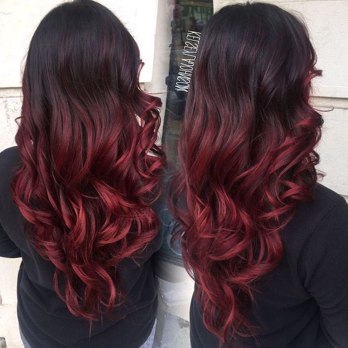Black To Dark Red Long Curly Hair How To Do Ombre Hair Black Blouse Side By Side Photos In 2020 Red Ombre Hair Burgundy Hair Hair Color Burgundy