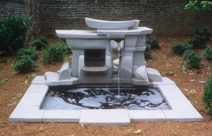A broad stacked fountain
