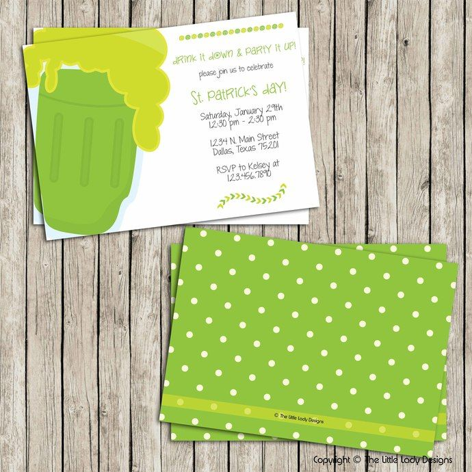 Large Green Beer Face St. Patty's Day Invitation - Instant Download! by tlittleladydesigns, $8.00 USD