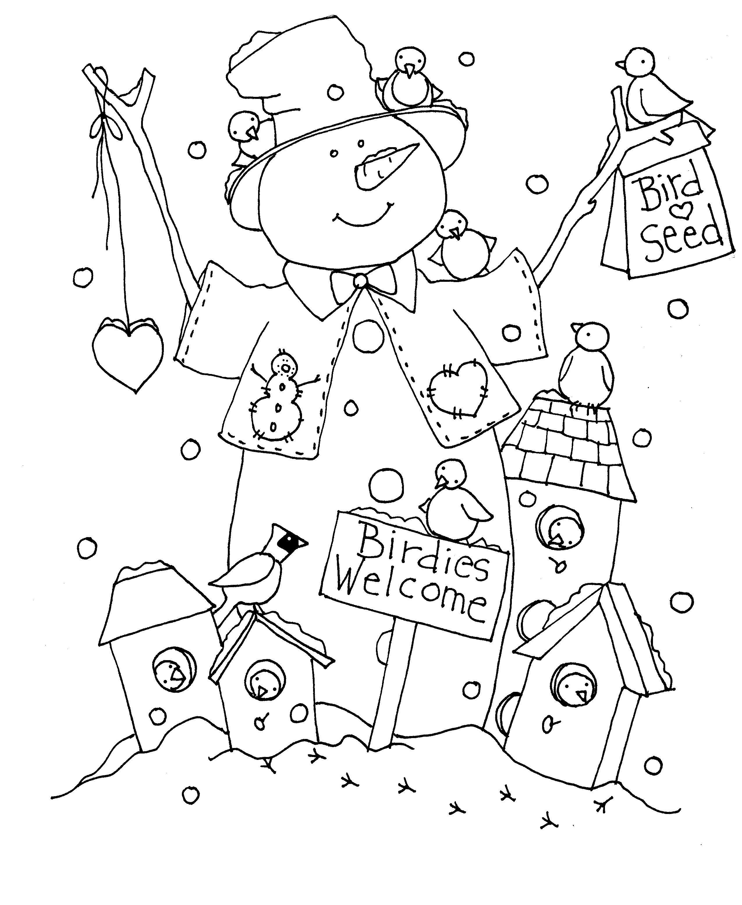 free dearie dolls digi stamps birdies welcome snowman - Snowman Color Pages 2